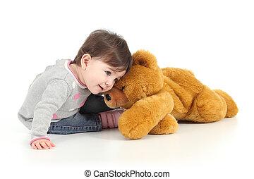 bebê, tocando, urso, pelúcia