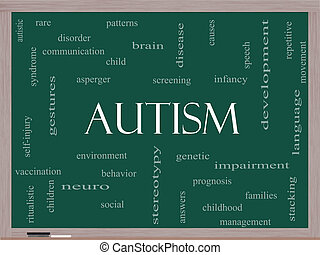 Autism Word Cloud Concept on a Blackboard with great terms...