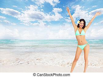 Beautiful woman in bikini.