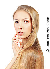healthy hair - Beautiful blonde woman with magnificent long...