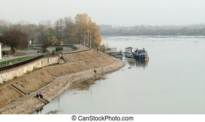 River, boats, coast - Sava river, boats, coast