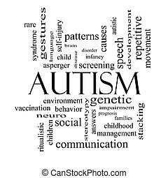 Autism Word Cloud Concept in black and white with great...