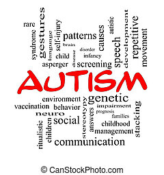 Autism Word Cloud Concept in red caps with great terms such...