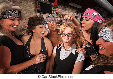 Cruel Women Teasing Nerd - Cruel gang of mature women...