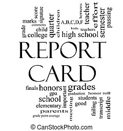 Report Card Word Cloud Concept in Black and White - Report...