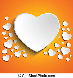 Valentine Day Heart on Yellow Background - Vector -...