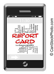 Report Card Word Cloud Concept on Touchscreen Phone - Report...