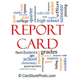 Report Card Word Cloud Concept with great terms such as...