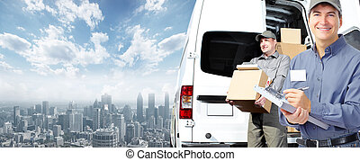 Delivery postman. - Group of professional post workers....