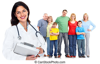 Family doctor woman Health care Isolated on white background...