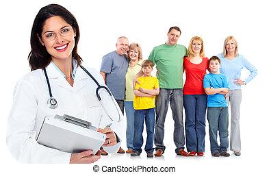 família, doutor, mulher, saúde, cuidado