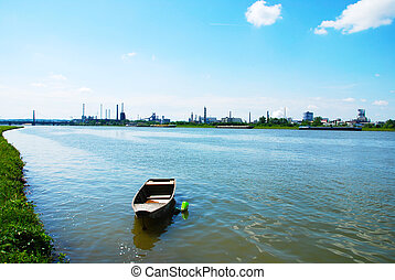 Linz - View at chemical plants near Linz from the other bank...