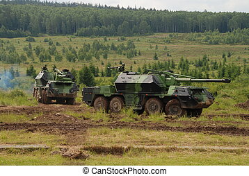 Tank - Military vehicle are guarding territory against the...