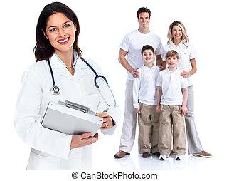 familia, doctor, mujer, salud, cuidado