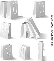 White paper bags set - Paper bags isolated on white...