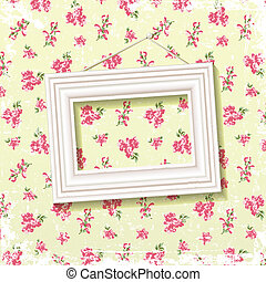Frame on floral background - Picture frame on delicate...