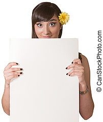 Lady Holding Blank Sign