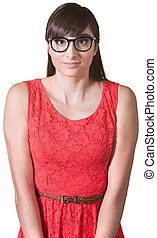 Nervous Woman in Red Dress - Young lady with glasses and...