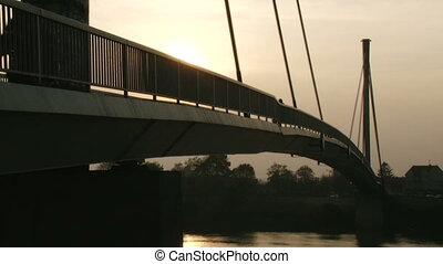 Bridge, dusk - Long foot bridge, dusk