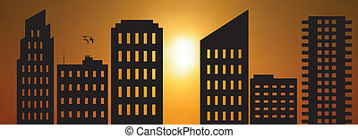Cityscape sun - Vector illustration of cityscape at dawn