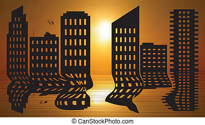 Cityscape reflected - Vector illustration of cityscape at...