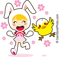 Bunny Girl And Little Chick