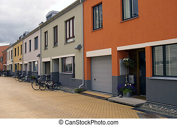 Colorful houses - Exclusive street with modern colorful...