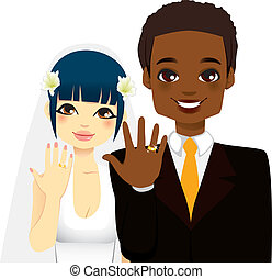 Newlywed Couple Rings - Newlywed multi ethnic couple showing...