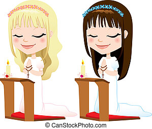 First Communion Prayer Girls - Cute blonde and brunette...