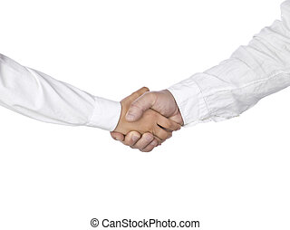 575 hand shaking - Two people in white sleeves hand shaking...