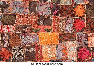 indio, labor de retazos, alfombra