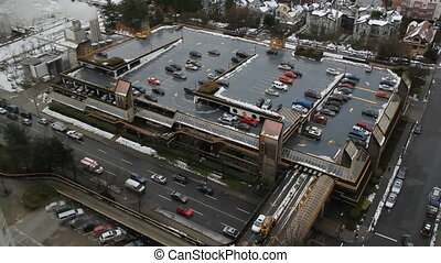 Parking Garage - Aerial view of parking garage in downtown...