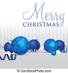 Merry Christmas! - Blue scatter bauble card in vector...