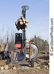 Log Processer - Log processer cutting and stacking logs