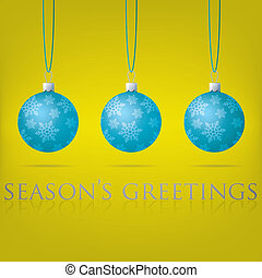 Merry Christmas - Bright yellow Seasons Greetings bauble...