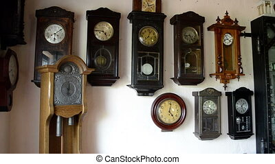 old clocks collection - many vintage different clocks...