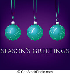 Merry Christmas - Bright purple Seasons Greetings bauble...
