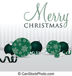 Merry Christmas! - Green scatter bauble card in vector...