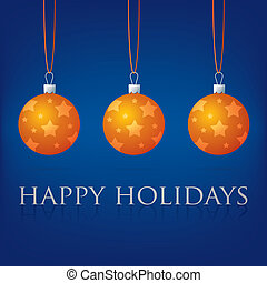 Merry Christmas! - Bright blue Happy Holidays bauble card in...
