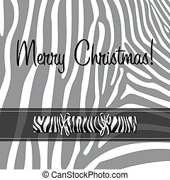 Merry Christmas - Zebra Christmas cracker card in vector...
