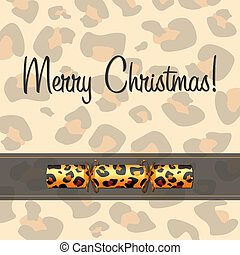 Merry Christmas - Leopard Christmas cracker card in vector...