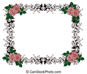 Red Roses Ornamental Border - Red Roses on ornamental frame...