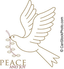 Merry Christmas! - The Dove of peace in flight in gold with...