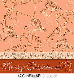 Merry Christmas - Hand drawn angel Merry Christmas card in...