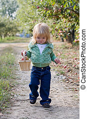 Little Girl Walking in Apple Orchard