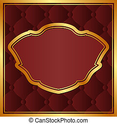 maroon background with gold frame