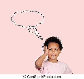 Pensive latin child isolated on a pink background