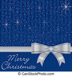 Merry Christmas - Blue bow and stars Christmas card in...