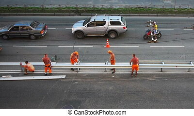 Road construction workers aerial view - PETROZAVODSK, RUSSIA...