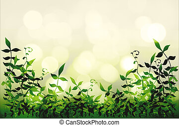 Leafy border - Background illustration of a leafy foreground...